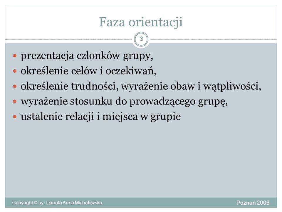 Faza orientacji Poznań 2006 Copyright © by Danuta Anna Michałowska 3 prezentacja członków grupy, określenie celów i oczekiwań, określenie trudności, w