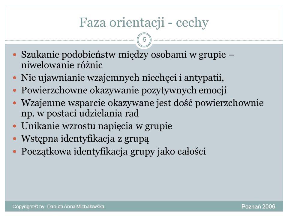 Faza orientacji - cechy Poznań 2006 Copyright © by Danuta Anna Michałowska 5 Szukanie podobieństw między osobami w grupie – niwelowanie różnic Nie uja