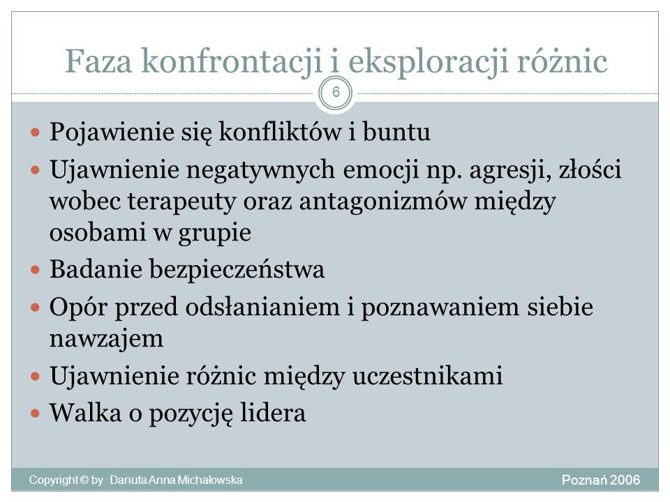 Faza konfrontacji i eksploracji różnic Poznań 2006 Copyright © by Danuta Anna Michałowska 6 Pojawienie się konfliktów i buntu Ujawnienie negatywnych e