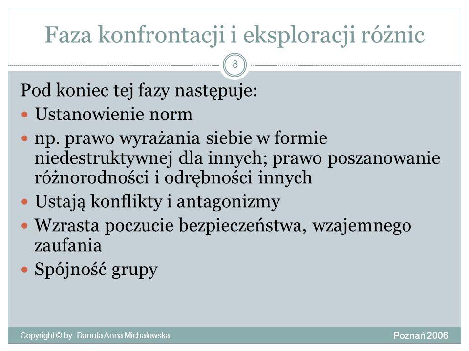 Faza konfrontacji i eksploracji różnic Poznań 2006 Copyright © by Danuta Anna Michałowska 8 Pod koniec tej fazy następuje: Ustanowienie norm np. prawo