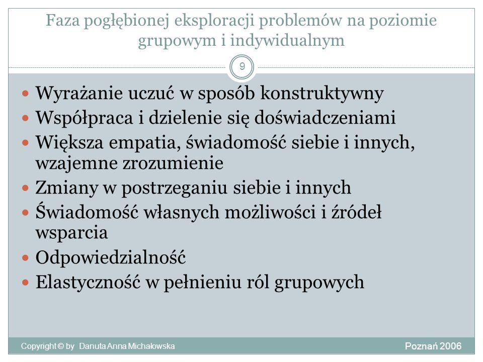 Faza pogłębionej eksploracji problemów na poziomie grupowym i indywidualnym Poznań 2006 Copyright © by Danuta Anna Michałowska 9 Wyrażanie uczuć w spo