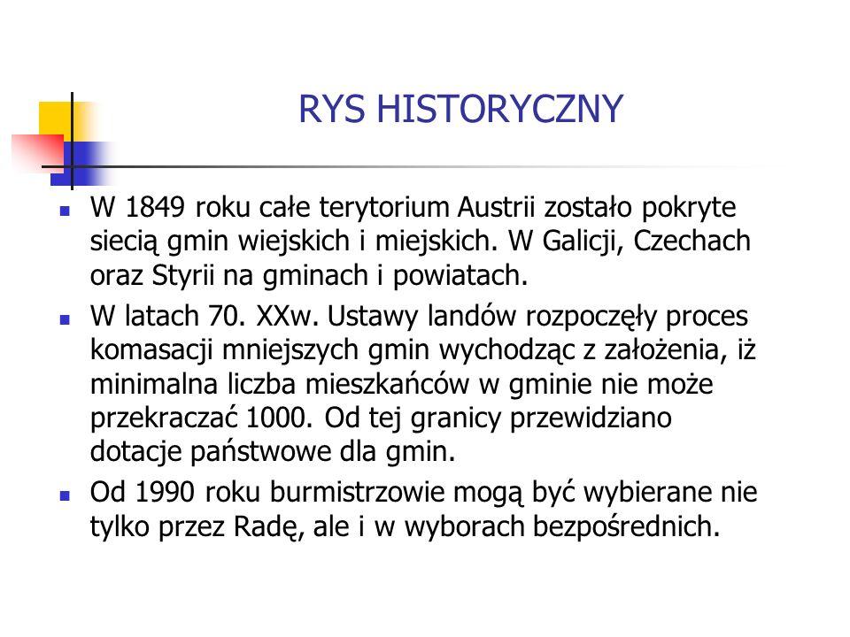RYS HISTORYCZNY W 1849 roku całe terytorium Austrii zostało pokryte siecią gmin wiejskich i miejskich. W Galicji, Czechach oraz Styrii na gminach i po