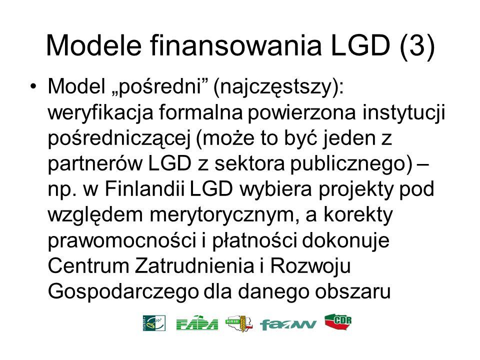 Modele finansowania LGD (3) Model pośredni (najczęstszy): weryfikacja formalna powierzona instytucji pośredniczącej (może to być jeden z partnerów LGD