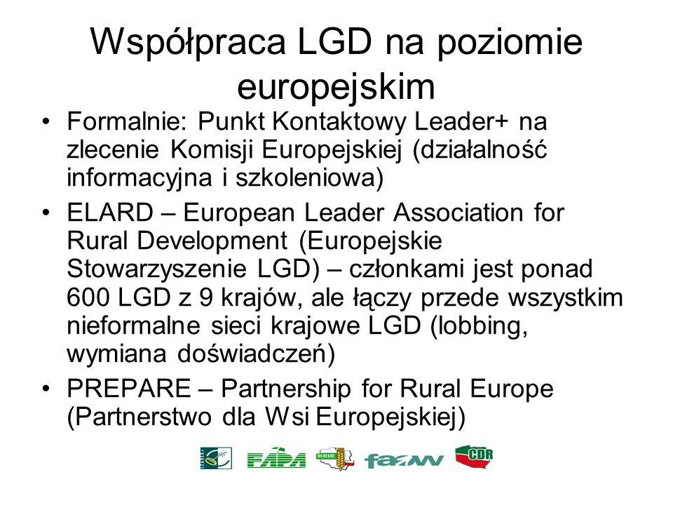 Współpraca LGD na poziomie europejskim Formalnie: Punkt Kontaktowy Leader+ na zlecenie Komisji Europejskiej (działalność informacyjna i szkoleniowa) E
