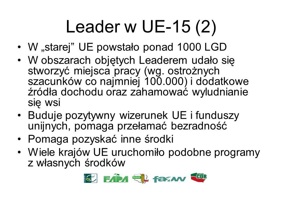 Leader w UE-15 (2) W starej UE powstało ponad 1000 LGD W obszarach objętych Leaderem udało się stworzyć miejsca pracy (wg. ostrożnych szacunków co naj