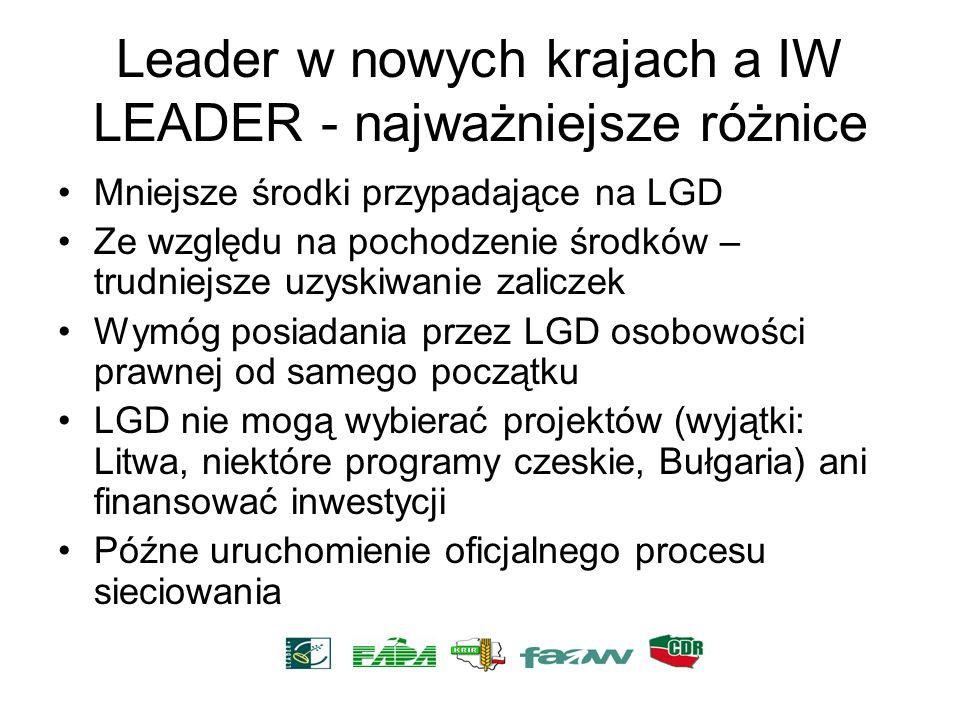 Leader w nowych krajach a IW LEADER - najważniejsze różnice Mniejsze środki przypadające na LGD Ze względu na pochodzenie środków – trudniejsze uzyski