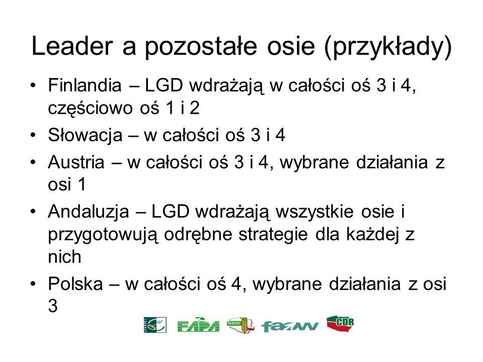 Leader a pozostałe osie (przykłady) Finlandia – LGD wdrażają w całości oś 3 i 4, częściowo oś 1 i 2 Słowacja – w całości oś 3 i 4 Austria – w całości
