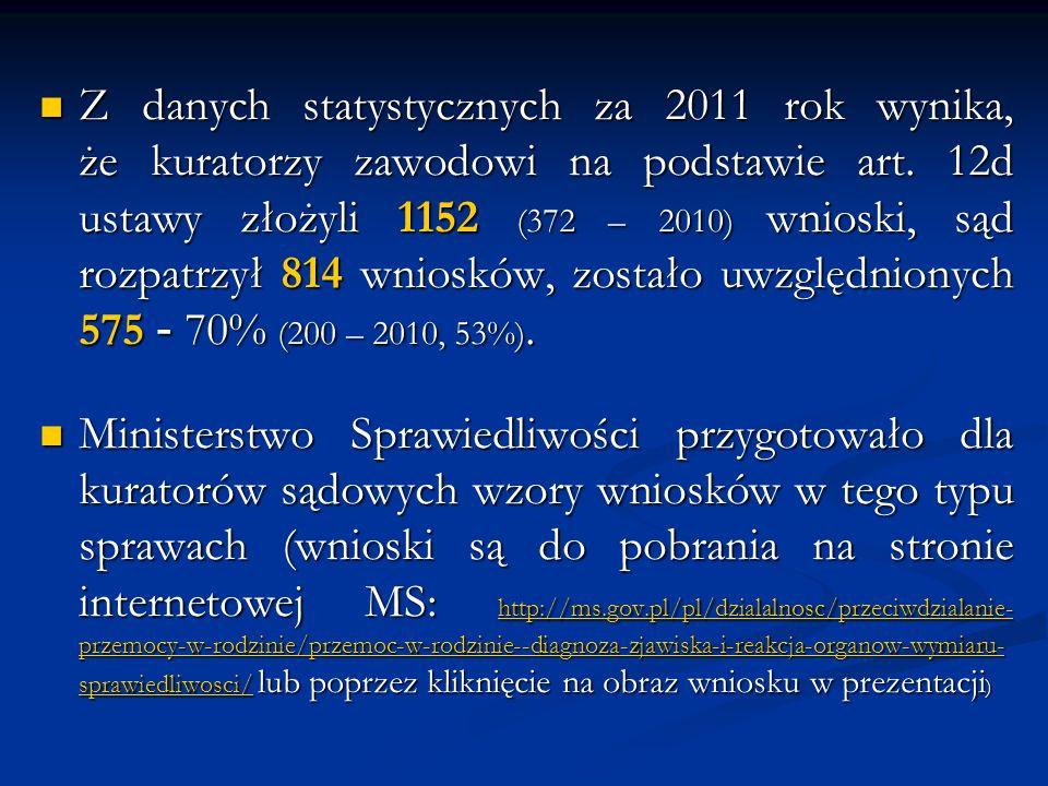 Z danych statystycznych za 2011 rok wynika, że kuratorzy zawodowi na podstawie art. 12d ustawy złożyli 1152 (372 – 2010) wnioski, sąd rozpatrzył 814 w