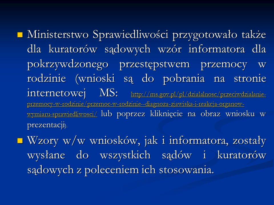 Ministerstwo Sprawiedliwości przygotowało także dla kuratorów sądowych wzór informatora dla pokrzywdzonego przestępstwem przemocy w rodzinie (wnioski