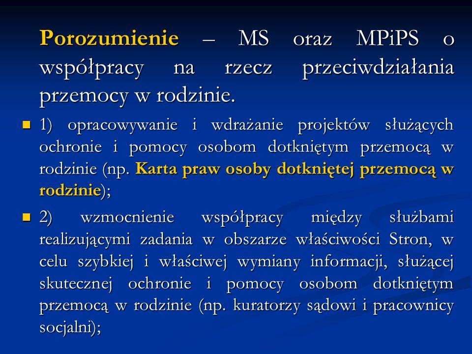 Porozumienie – MS oraz MPiPS o współpracy na rzecz przeciwdziałania przemocy w rodzinie. 1) opracowywanie i wdrażanie projektów służących ochronie i p