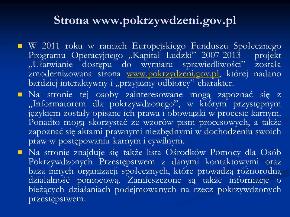Strona www.pokrzywdzeni.gov.pl W 2011 roku w ramach Europejskiego Funduszu Społecznego Programu Operacyjnego Kapitał Ludzki 2007-2013 - projekt Ułatwi
