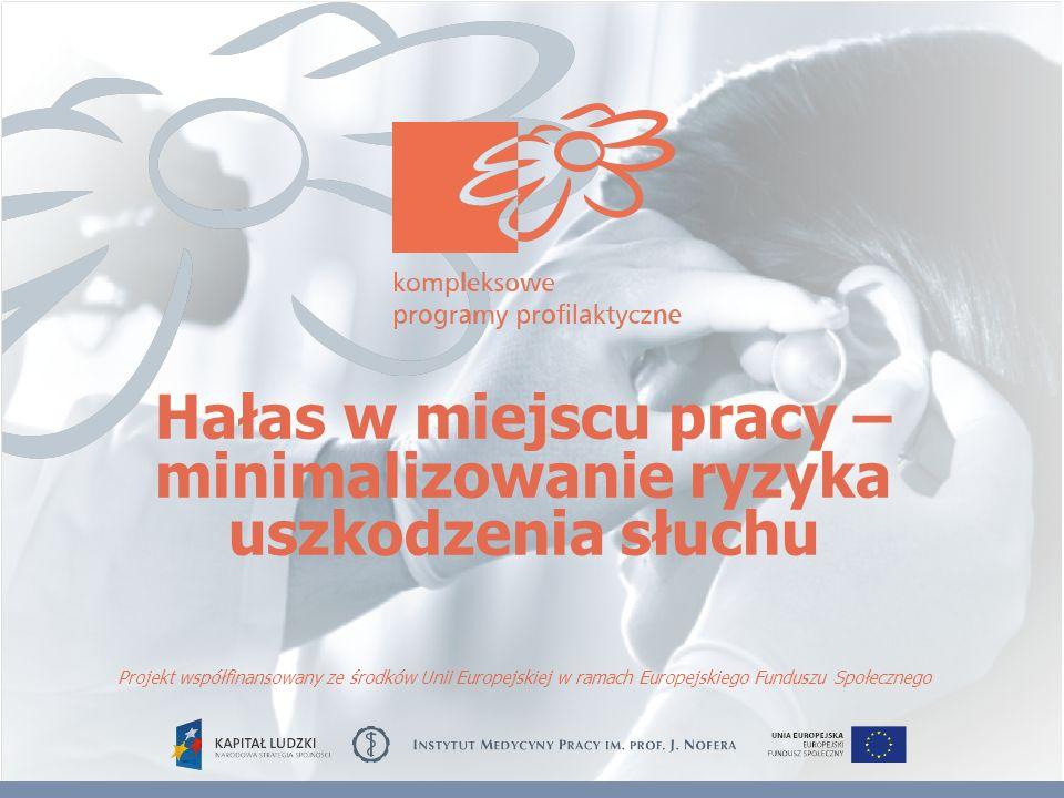 Hałas w miejscu pracy – minimalizowanie ryzyka uszkodzenia słuchu Projekt współfinansowany ze środków Unii Europejskiej w ramach Europejskiego Fundusz