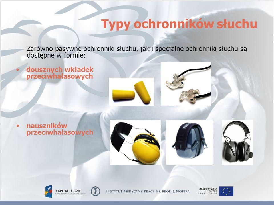 Typy ochronników słuchu nauszników przeciwhałasowych Zarówno pasywne ochronniki słuchu, jak i specjalne ochronniki słuchu są dostępne w formie: douszn