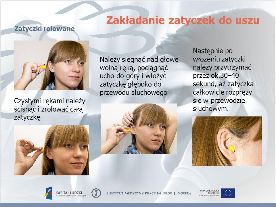 Należy sięgnąć nad głowę wolną ręką, pociągnąć ucho do góry i włożyć zatyczkę głęboko do przewodu słuchowego Czystymi rękami należy ścisnąć i zrolować