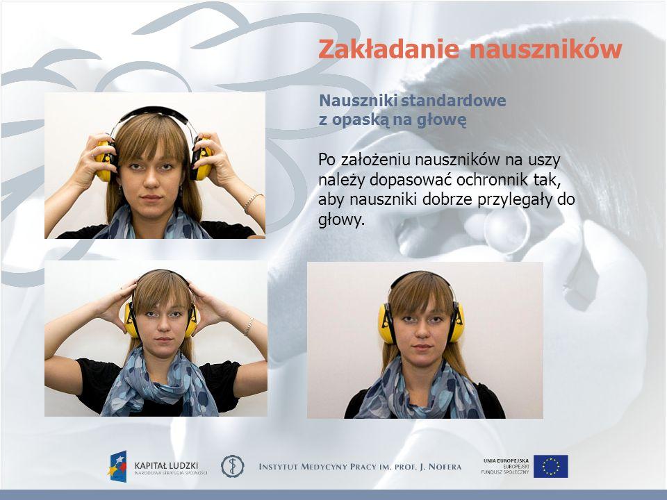 Zakładanie nauszników Po założeniu nauszników na uszy należy dopasować ochronnik tak, aby nauszniki dobrze przylegały do głowy. Nauszniki standardowe