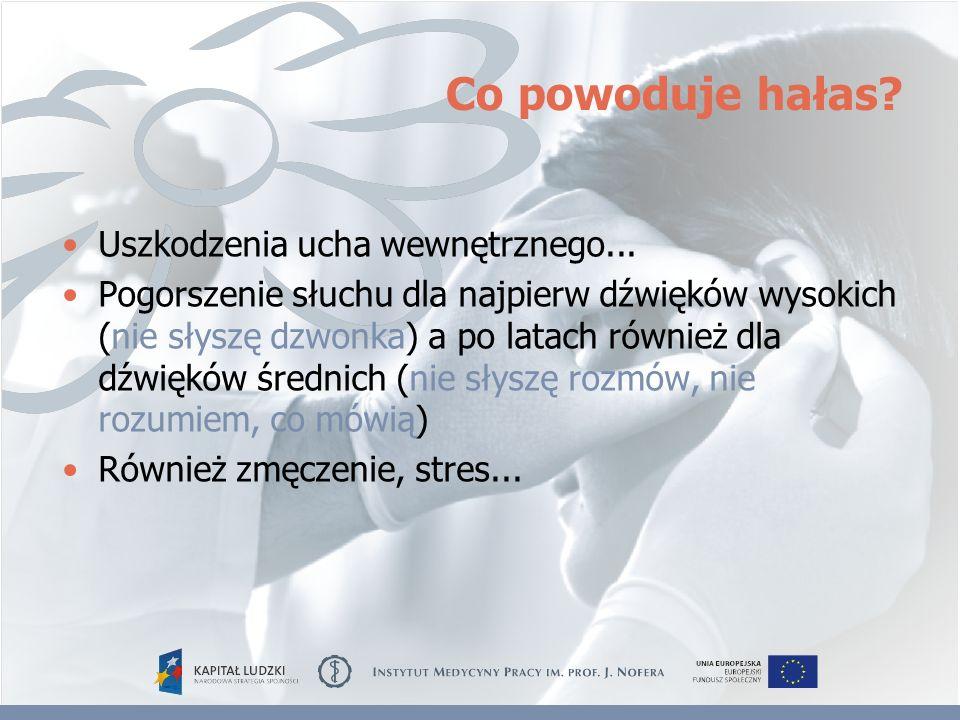 Co powoduje hałas? Uszkodzenia ucha wewnętrznego... Pogorszenie słuchu dla najpierw dźwięków wysokich (nie słyszę dzwonka) a po latach również dla dźw