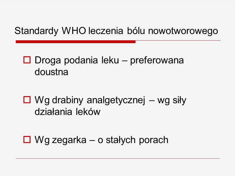 Standardy WHO leczenia bólu nowotworowego Droga podania leku – preferowana doustna Wg drabiny analgetycznej – wg siły działania leków Wg zegarka – o s
