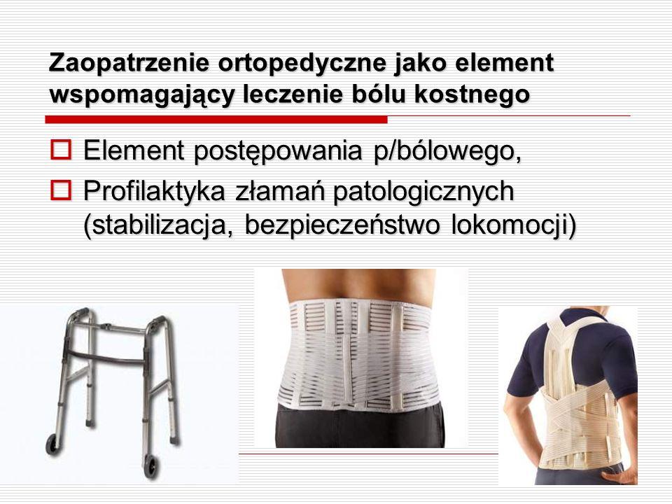 Zaopatrzenie ortopedyczne jako element wspomagający leczenie bólu kostnego Element postępowania p/bólowego, Element postępowania p/bólowego, Profilakt