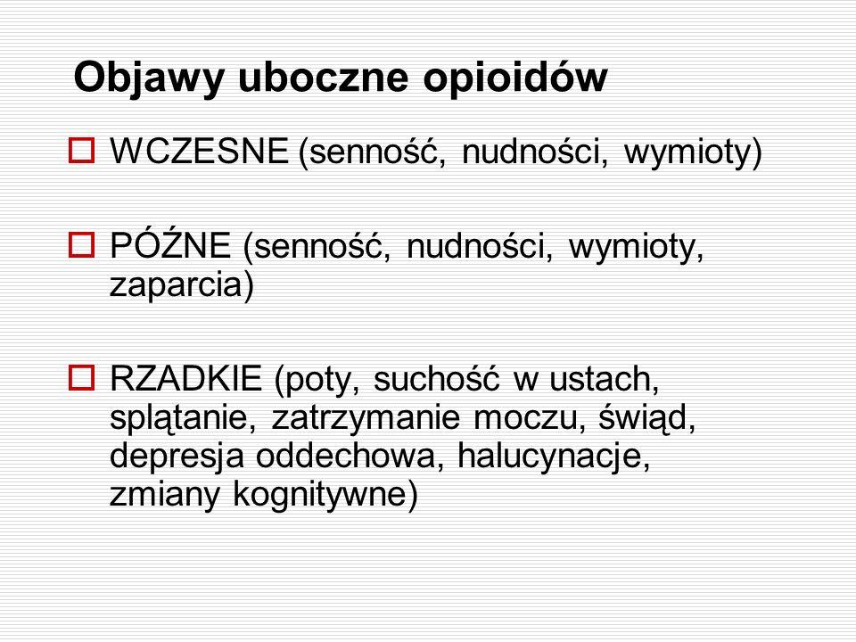 Objawy uboczne opioidów WCZESNE (senność, nudności, wymioty) PÓŹNE (senność, nudności, wymioty, zaparcia) RZADKIE (poty, suchość w ustach, splątanie,