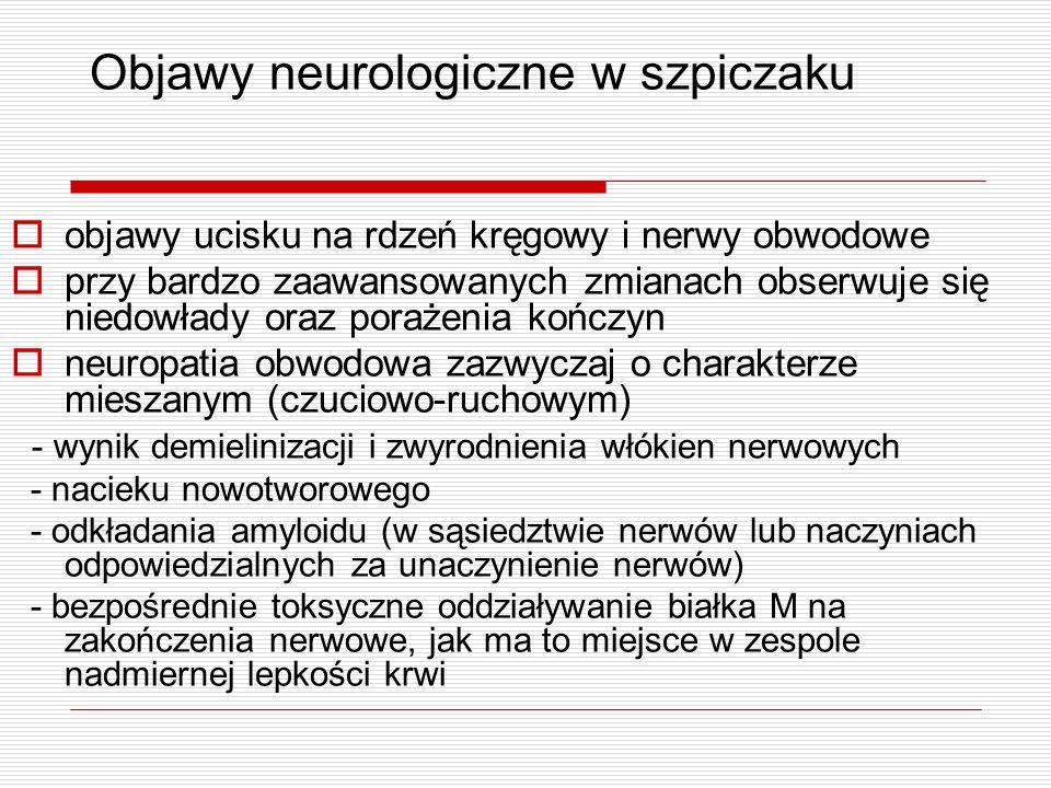 Objawy neurologiczne w szpiczaku objawy ucisku na rdzeń kręgowy i nerwy obwodowe przy bardzo zaawansowanych zmianach obserwuje się niedowłady oraz por