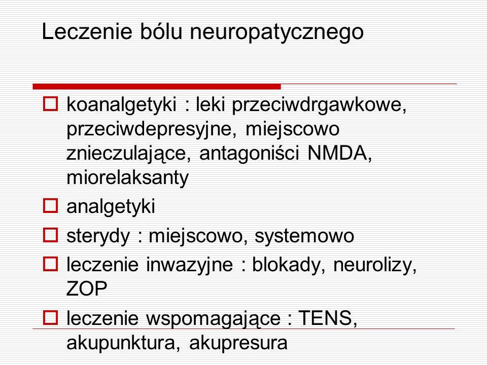 Leczenie bólu neuropatycznego koanalgetyki : leki przeciwdrgawkowe, przeciwdepresyjne, miejscowo znieczulające, antagoniści NMDA, miorelaksanty analge