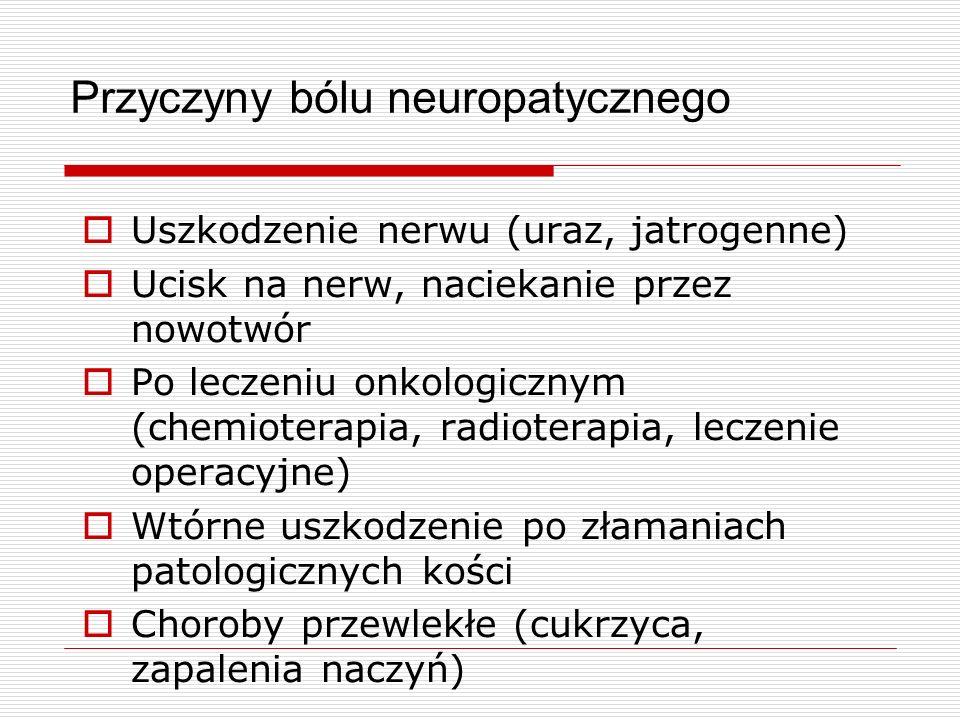 Ból neuropatyczny Palenie, pieczenie, szarpanie, strzelanie, rwanie Zdrętwienie, mrowienie Hiperalgezja (nadwrażliwość na ból) Allodynia (przeczulica, dotyk powoduje ból) Częste współistnienie zaburzeń czucia powierzchniowego Stały lub spontaniczny, z napadami w spoczynku Tendencje do zaburzania snu Leczenie – koanalgetyki z wyboru!