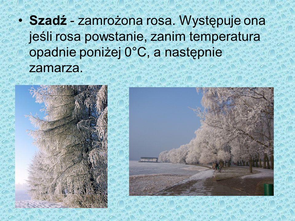 Śnieg - zlepki kryształków lodu powstające w wyniku bezpośredniej zmiany pary wodnej zawartej w powietrzu w lód.