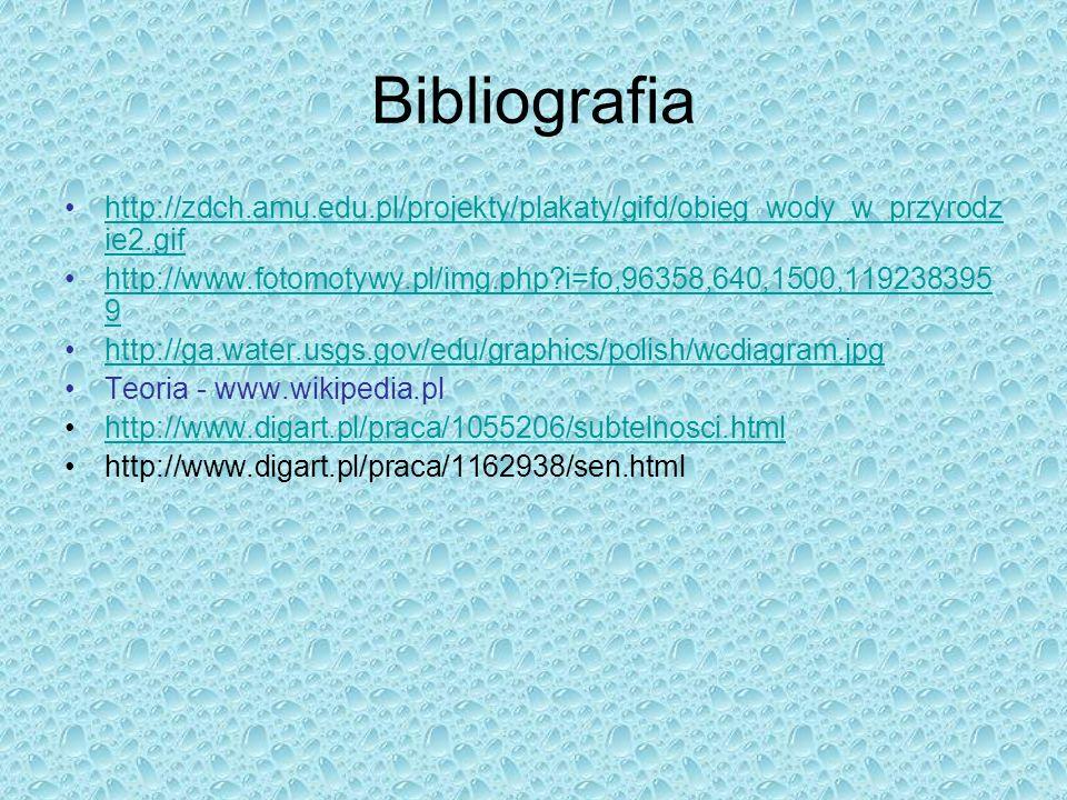 Bibliografia http://zdch.amu.edu.pl/projekty/plakaty/gifd/obieg_wody_w_przyrodz ie2.gifhttp://zdch.amu.edu.pl/projekty/plakaty/gifd/obieg_wody_w_przyr