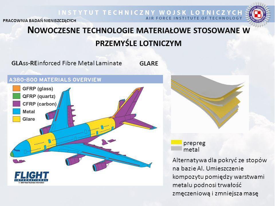 N OWOCZESNE TECHNOLOGIE MATERIAŁOWE STOSOWANE W PRZEMYŚLE LOTNICZYM GLARE GLAss-REinforced Fibre Metal Laminate Alternatywa dla pokryć ze stopów na ba