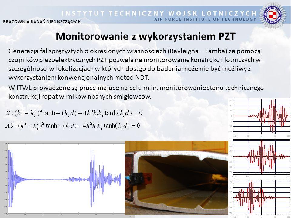 Monitorowanie z wykorzystaniem PZT Generacja fal sprężystych o określonych własnościach (Rayleigha – Lamba) za pomocą czujników piezoelektrycznych PZT