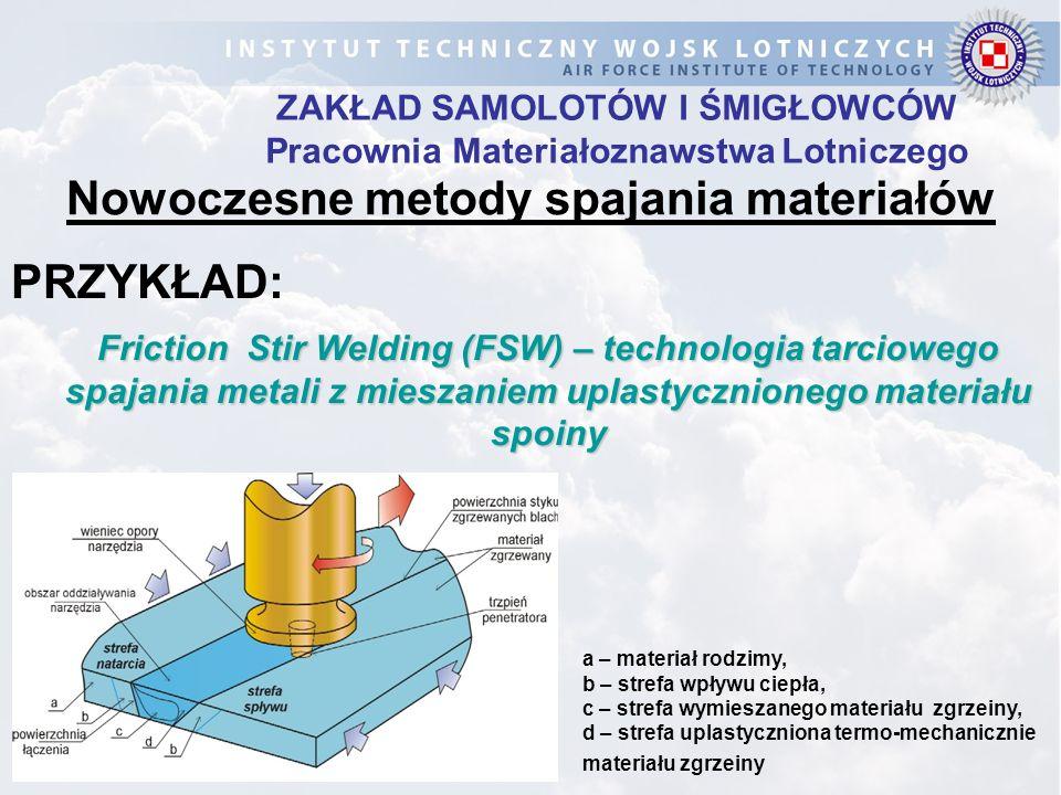 ZAKŁAD SAMOLOTÓW I ŚMIGŁOWCÓW Pracownia Materiałoznawstwa Lotniczego a – materiał rodzimy, b – strefa wpływu ciepła, c – strefa wymieszanego materiału
