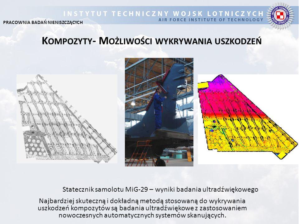 B ADANIE S TATECZNIKA P IONOWEGO S AMOLOTU M I G-29 Kompozyty- Możliwości wykrywania uszkodzeń Metody stosowane przez ITWL: Ultradźwięki Rezonans Impedancja akustyczna pozwalają na wykrywanie uszkodzeń kompozytów w postaci: Rozwarstwień Odklejeń Wtrąceń ciał obcych (patrz rysunek) porowatości Wynik z badania statecznika pionowego samolotu MiG-29 PRACOWNIA BADAŃ NIENISZCZĄCYCH