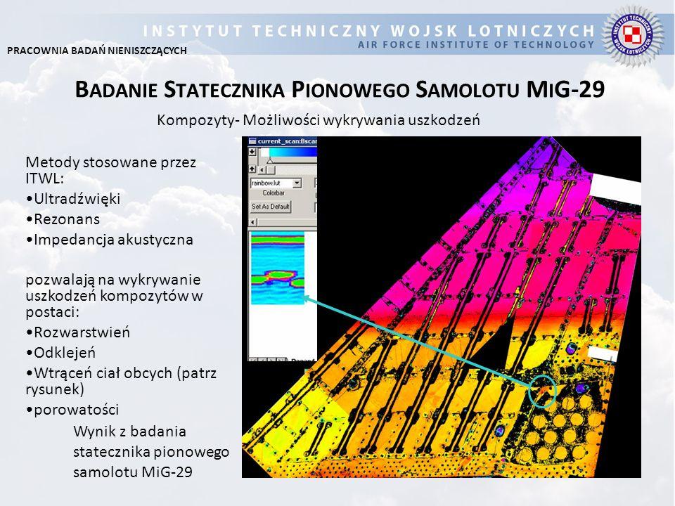 B ADANIE S TATECZNIKA P IONOWEGO S AMOLOTU M I G-29 Kompozyty- Możliwości wykrywania uszkodzeń Metody stosowane przez ITWL: Ultradźwięki Rezonans Impe