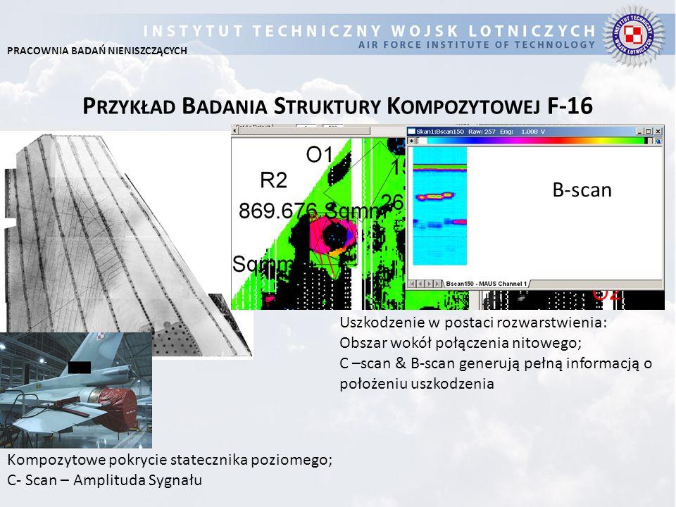 P RZYKŁAD B ADANIA S TRUKTURY K OMPOZYTOWEJ F-16 Uszkodzenie w postaci rozwarstwienia: Obszar wokół połączenia nitowego; C –scan & B-scan generują peł