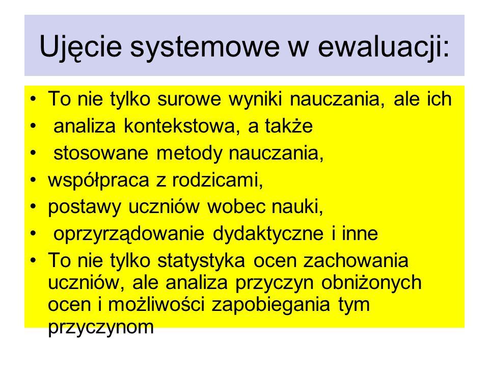 Ujęcie systemowe w ewaluacji: To nie tylko surowe wyniki nauczania, ale ich analiza kontekstowa, a także stosowane metody nauczania, współpraca z rodz