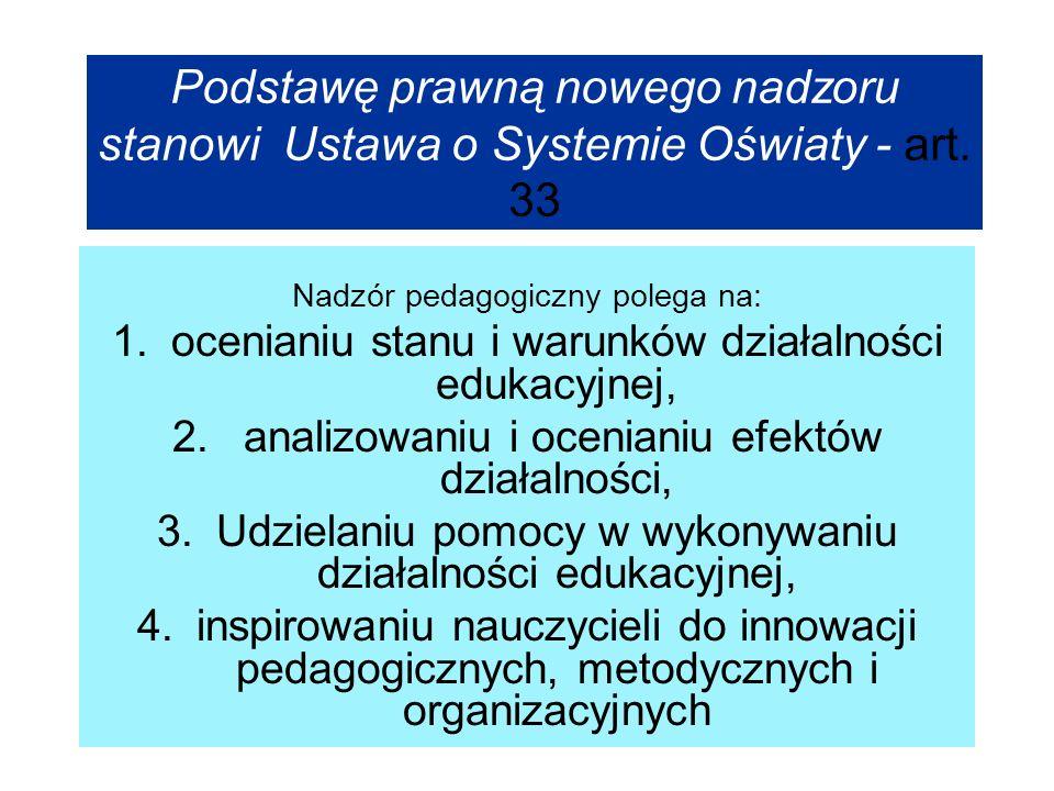 Podstawę prawną nowego nadzoru stanowi Ustawa o Systemie Oświaty - art. 33 Nadzór pedagogiczny polega na: 1.ocenianiu stanu i warunków działalności ed
