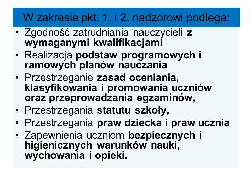 W zakresie pkt. 1. i 2. nadzorowi podlega: Zgodność zatrudniania nauczycieli z wymaganymi kwalifikacjami Realizacja podstaw programowych i ramowych pl