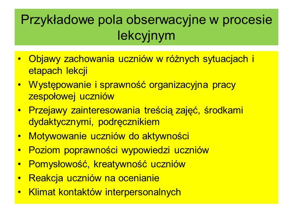 Przykładowe pola obserwacyjne w procesie lekcyjnym Objawy zachowania uczniów w różnych sytuacjach i etapach lekcji Występowanie i sprawność organizacy