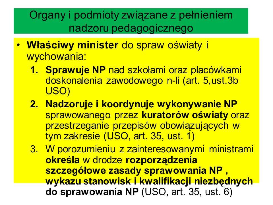 Organy i podmioty związane z pełnieniem nadzoru pedagogicznego Właściwy minister do spraw oświaty i wychowania: 1.Sprawuje NP nad szkołami oraz placów
