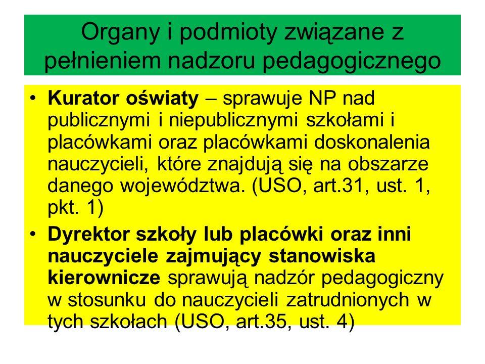 Organy i podmioty związane z pełnieniem nadzoru pedagogicznego Kurator oświaty – sprawuje NP nad publicznymi i niepublicznymi szkołami i placówkami or