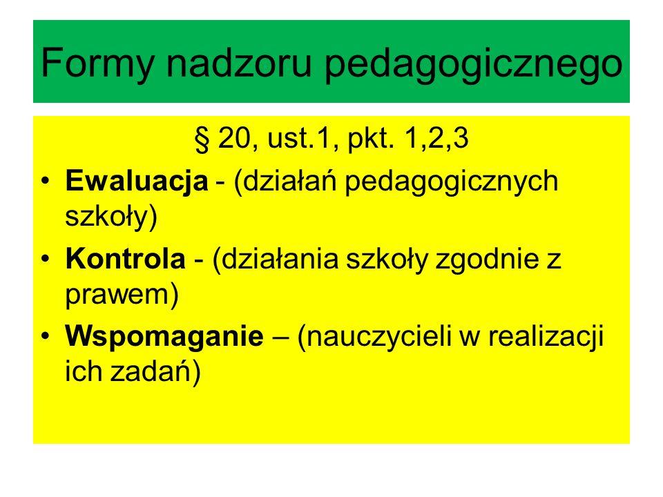 Formy nadzoru pedagogicznego § 20, ust.1, pkt. 1,2,3 Ewaluacja - (działań pedagogicznych szkoły) Kontrola - (działania szkoły zgodnie z prawem) Wspoma