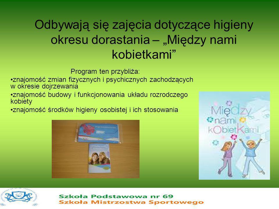 Odbywają się zajęcia dotyczące higieny okresu dorastania – Między nami kobietkami Program ten przybliża: znajomość zmian fizycznych i psychicznych zac