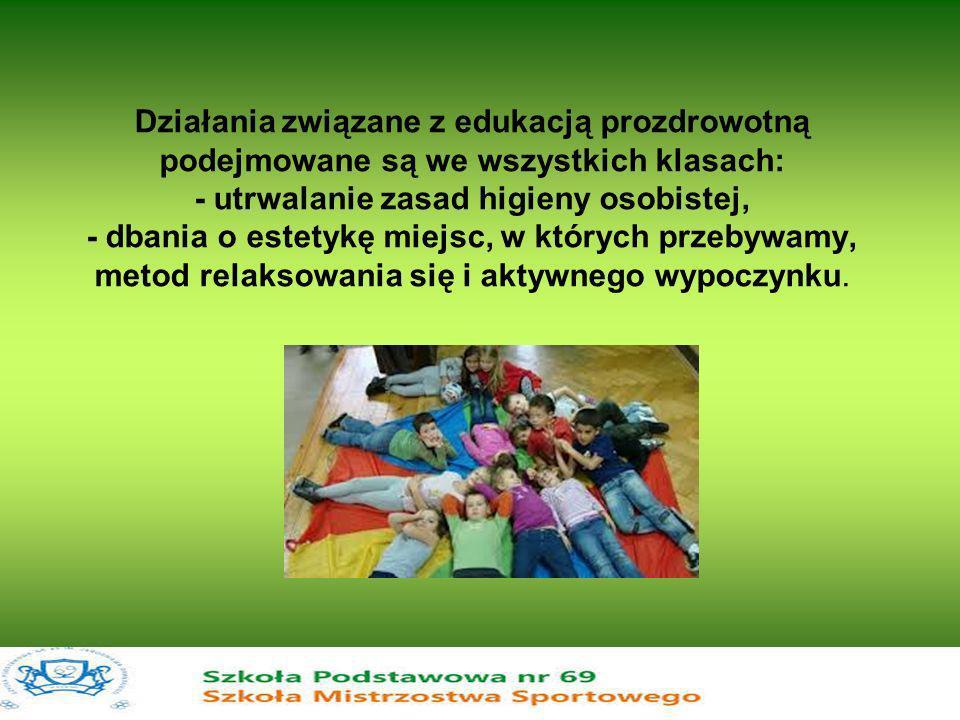 Działania związane z edukacją prozdrowotną podejmowane są we wszystkich klasach: - utrwalanie zasad higieny osobistej, - dbania o estetykę miejsc, w k