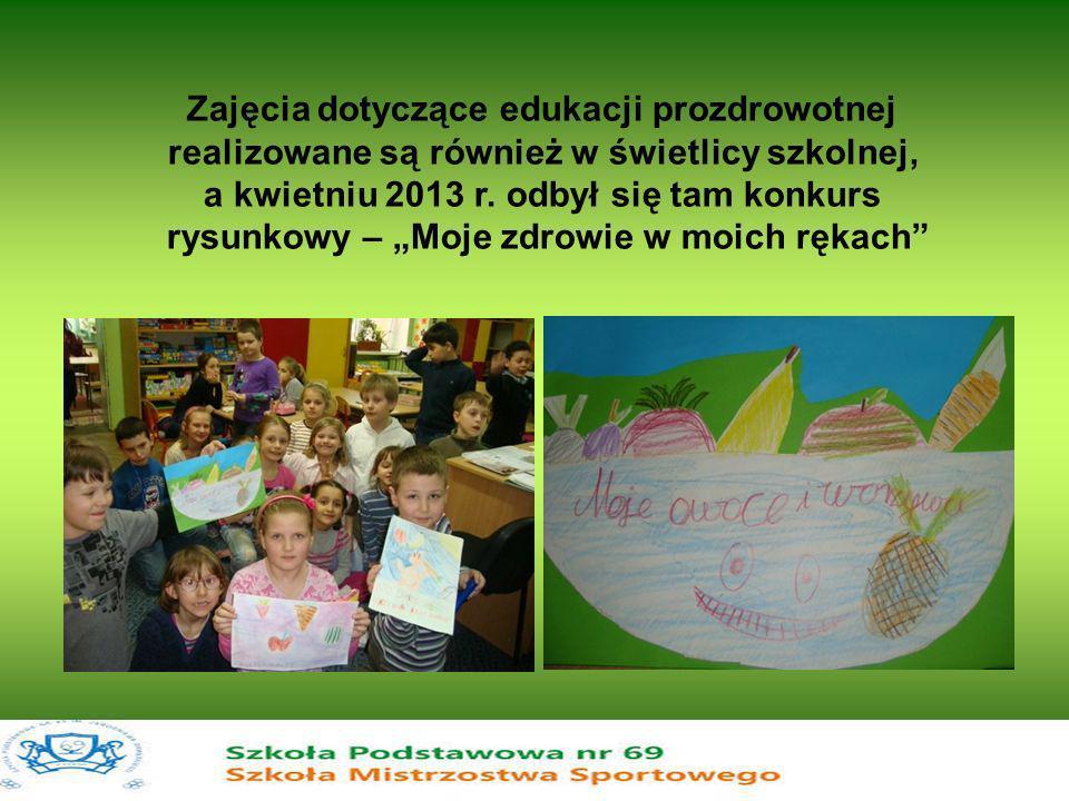 Zajęcia dotyczące edukacji prozdrowotnej realizowane są również w świetlicy szkolnej, a kwietniu 2013 r. odbył się tam konkurs rysunkowy – Moje zdrowi