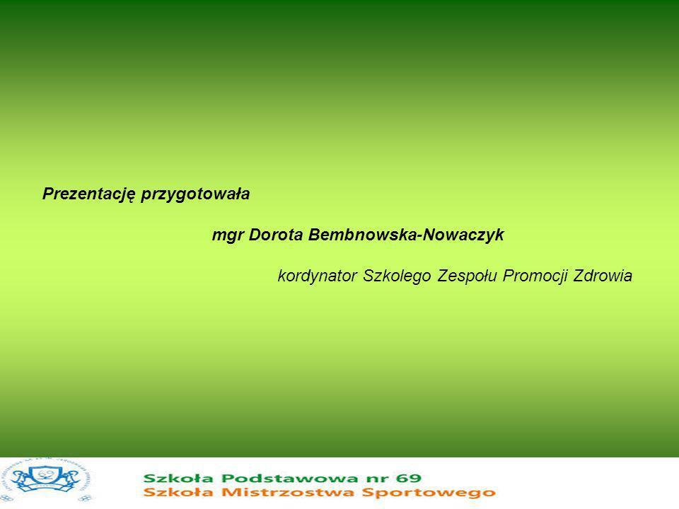 Prezentację przygotowała mgr Dorota Bembnowska-Nowaczyk kordynator Szkolego Zespołu Promocji Zdrowia