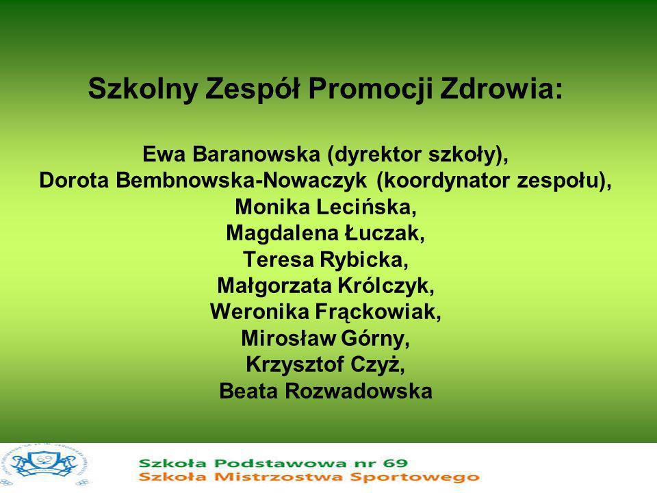 Szkolny Zespół Promocji Zdrowia: Ewa Baranowska (dyrektor szkoły), Dorota Bembnowska-Nowaczyk (koordynator zespołu), Monika Lecińska, Magdalena Łuczak