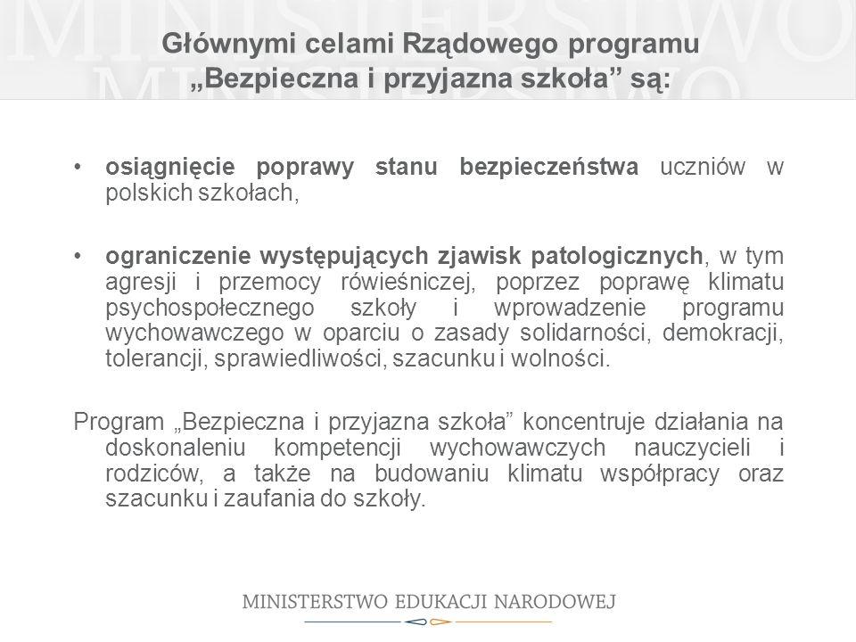 Głównymi celami Rządowego programu Bezpieczna i przyjazna szkoła są: osiągnięcie poprawy stanu bezpieczeństwa uczniów w polskich szkołach, ograniczeni