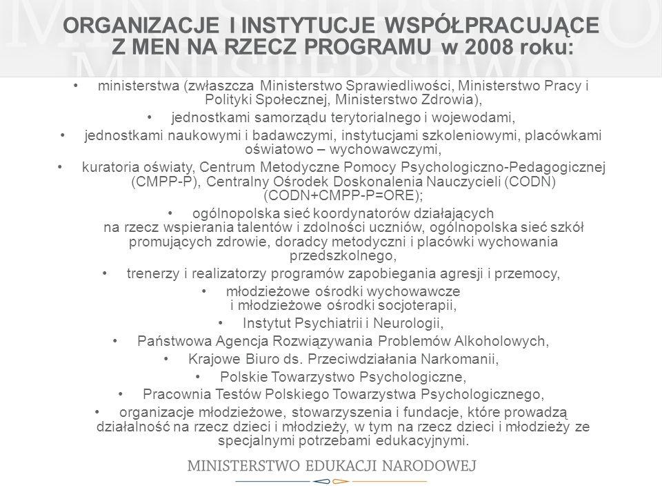 ORGANIZACJE I INSTYTUCJE WSPÓŁPRACUJĄCE Z MEN NA RZECZ PROGRAMU w 2008 roku: ministerstwa (zwłaszcza Ministerstwo Sprawiedliwości, Ministerstwo Pracy