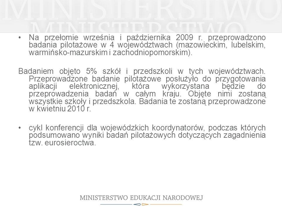 Na przełomie września i października 2009 r. przeprowadzono badania pilotażowe w 4 województwach (mazowieckim, lubelskim, warmińsko-mazurskim i zachod