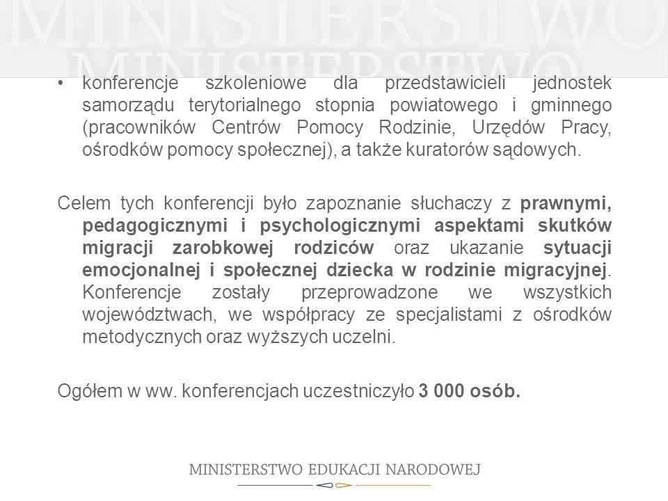 konferencje szkoleniowe dla przedstawicieli jednostek samorządu terytorialnego stopnia powiatowego i gminnego (pracowników Centrów Pomocy Rodzinie, Ur